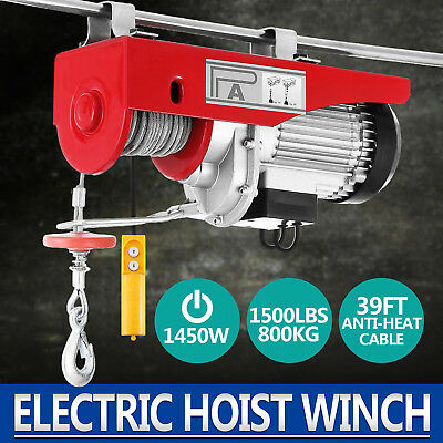 1500 Lb Overhead Electric Hoist Crane Lift Garage Winch Wremote 110v
