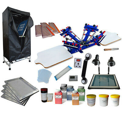 4 Color 2 Station Screen Printing Kit Drying Cabinet Exposure Unit Press Ink