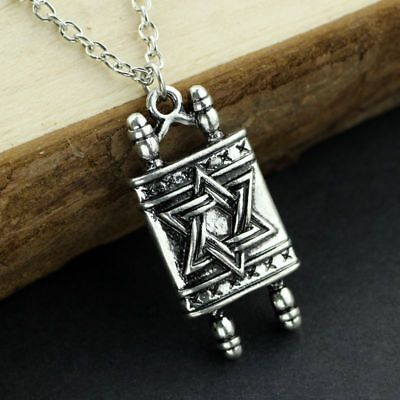Religious Scroll (Jewish Hebrew Sefer Torah Scroll Religious Pendant Necklace Star Of David Amulet )