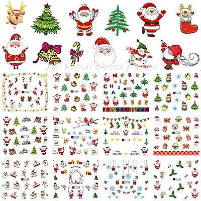 (12 sheets Christmas water transfer nail art decoration stickers Santa Claus tree)