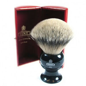 KENT BLK12 PURE SILVER TIP BADGER SHAVING BRUSH, BLACK HANDLE