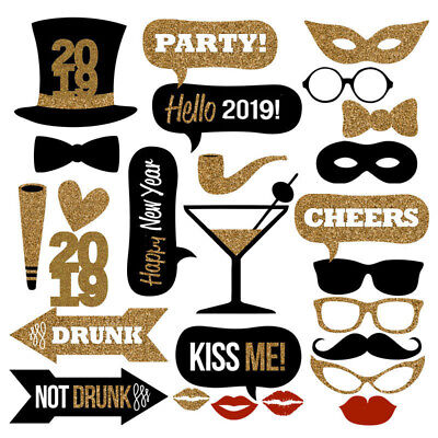 26pcs 2019 New Year Photo Booth Props Mustache On A Stick Xmas Party Photography