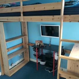 Pine High Sleeper Bed