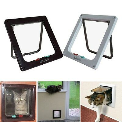 4 Way Medium Small Large Pet Cat Puppy Dog Magnetic Lock Lockable Safe Flap