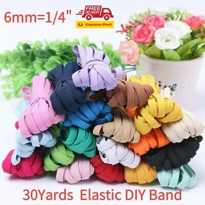 """30yds 1/4"""" 6mm colorful Thickening Satin Elastic Band Trim Sewing Spandex Lace"""