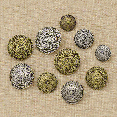 (10x Sewing Metal Buttons Round Silver Bronze Flower Carved Sewing Supplies)