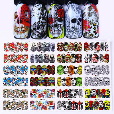 Halloween 12 Patterns Water Decals Skull Flower Nail Art Transfer Stickers Tips (Halloween Patterns)