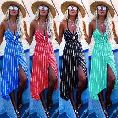 DE Damen Gestreift Sommer Boho Lang Teilt Maxikleid Abend Party Strand Kleider  (Gestreifte Maxi Kleider)