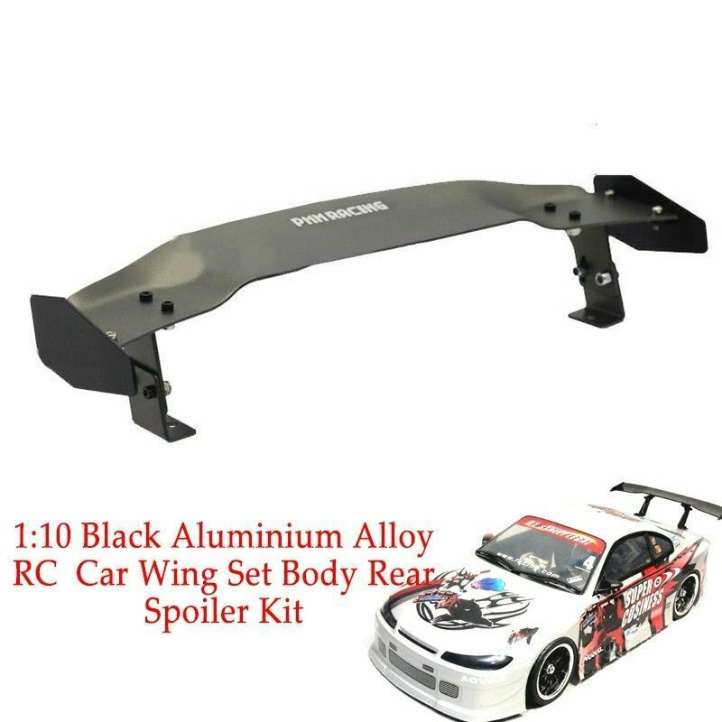 Car Parts - Aluminium Alloy RC Drift On-road Car Wing Set Body Rear Spoiler Parts 1:10 Black