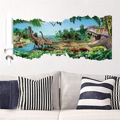 3D View Dinosaur Kids Room Decor Jurassic Park Wall Sticker Decal Mural PVC USA - Jurassic Park Decorations
