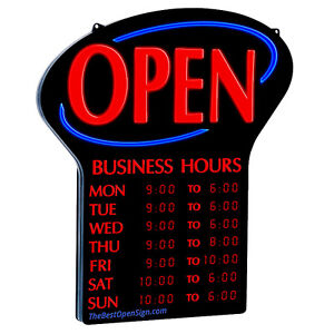 Open  sign & business hours