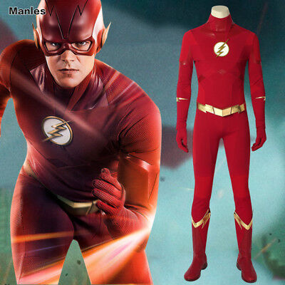 Halloween Costumes Flash (The Flash 5 Barry Allen Cosplay Superhero Costume Outfits Halloween Leather)