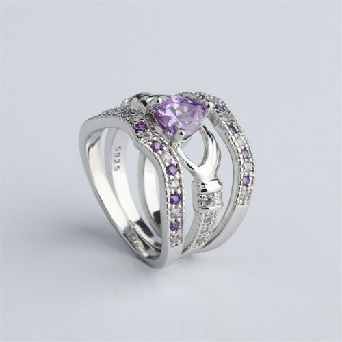 3Pcs Women's Heart Amethyst Silver Plated Bridal Wedding Eng