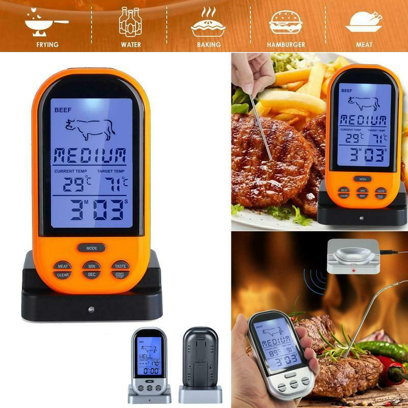 Digital Wireless Remote Meat BBQ Food Thermometer Oven Probe