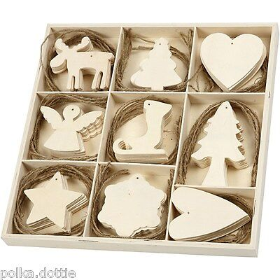 Wooden Christmas Tree Decoration Craft Embellishments 9 Hanging Shape Tags Blank