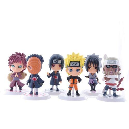 Anime Naruto Model Car Decor 19 Series Toy Figure Figurine With Base 6 Pcs Set