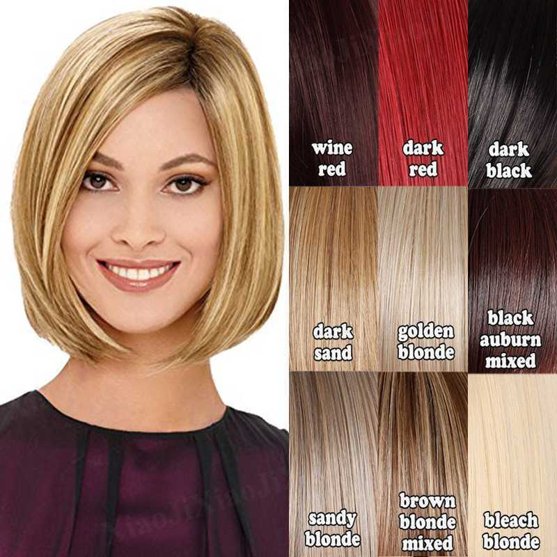 Fashion Women Bob Style Wig Natural Short Straight Hair Wig Ombre Mix Blonde Y5 Ebay