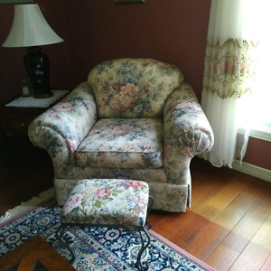 2 Floral Easy Chairs with Footstools