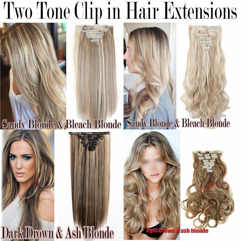 100 Natural 8pieces Long Clip In Hair Extensions Full Head Real