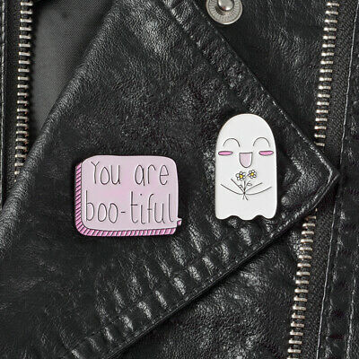 Cute Sweet Ghost Pink Slogan YOU ARE Boo-tiful Halloween Funny Pins Brooch Badge