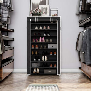 New SONGMICS 10 Tiers Shoe Rack with Cover Closet Shoe Storage