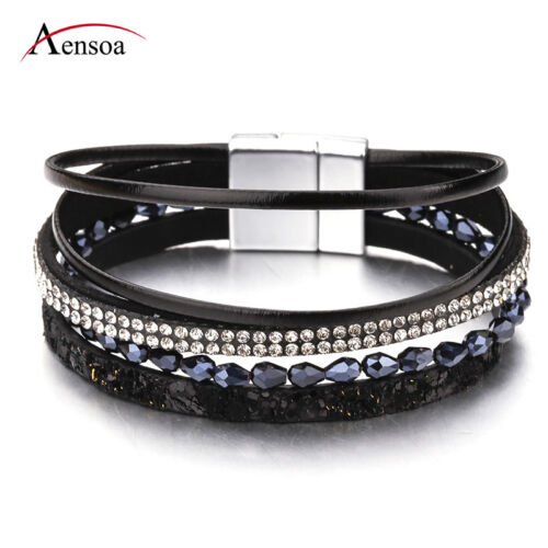 Fashion Women Multilayer Leather Crystal Resin Beads Magnet Wrap Charm Bracelet