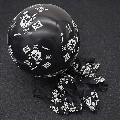 10x Skull Latex Balloons Pirate Theme Halloween Birthday Party Kids Toys Cute