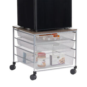 Platinum Elfa Mesh Compact Fridge Cart/Stand