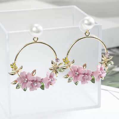 Cherry Blossom Flower Big Circle Hoop Earring Pearl Earring For Women Party Gift Cherry Blossom Flower Bead