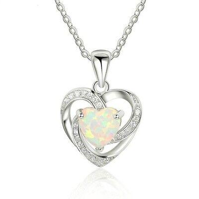 """Women 925 Sterling Silver Plated Faux Opal Heart Cubic Pendant Necklace 18""""N128 925 Sterling Silver Heart"""