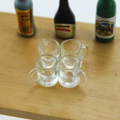 4pc Dollhouse Miniature Clear Water Glass Drink Cup Mugs Kitchen Accessory 1/12 - Mugs Clearwater