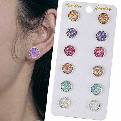 6 Pairs Stainless Steel Shiny Austrian Crystal Round Stud Earrings Jewelry Set ()
