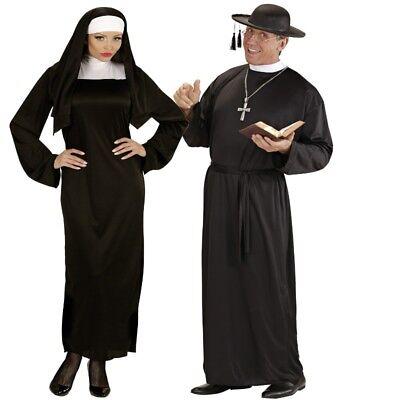 erren Damen Kostüm - Pfarrer Oberin Pater - Partnerkostüm (Priester Und Nonne Kostüm)