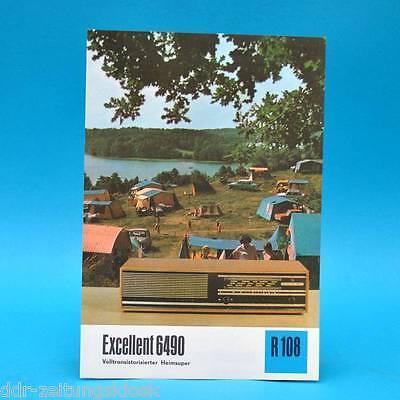 Excellent 6490 Heimsuper 1974 Prospekt Werbung DEWAG Werbeblatt R108 Radio DDR L