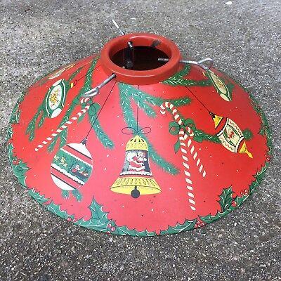 VTG Red Coloramic 1950's Mid-Century Metal Litho Christmas Tree Stand Santa