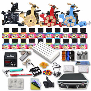 Complete Tattoo Kit 4 Machine Gun Power Supply 20 Color Inks Set