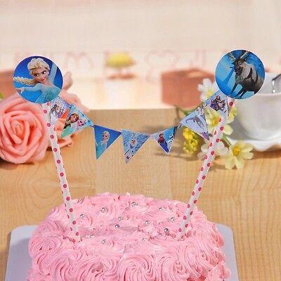 Frozen Cake Supplies (Frozen Birthday Cake Banner Topper Flag Decoration Party)