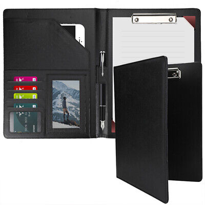 Leather Business Padfolio Portfolio Folder Organizer Resume Notebook Black U.s.a