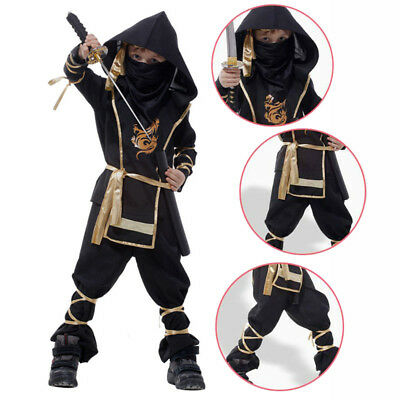Black Japanese Anime Cosplay Costumes Party Warrior Suit Fancy Clothes For Kids