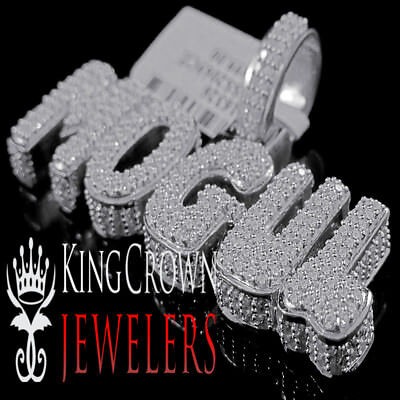Real White Gold Silver Rapper Style Mogul Custom Charm Lab Diamond Mens -