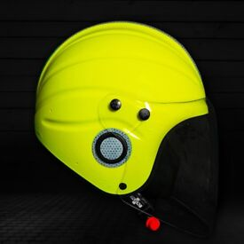 """Gecko """"Gecko One"""" Open Face Helmet in fluorescent yellow with Visor and Bag"""