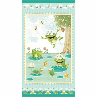 FROGLAND FRIENDS Frog Quilt Fabric Panel 24 x 44 from Henry Glass -