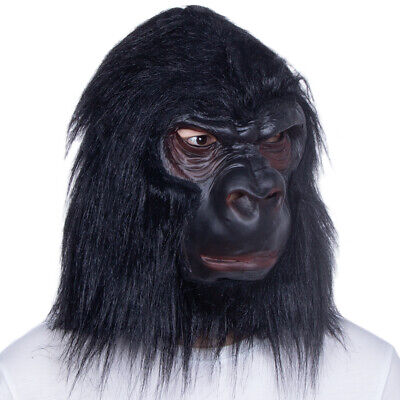 Realistic Latex Halloween Mask (Gorilla Halloween Mask for adult costume party Realistic Ape Monkey)