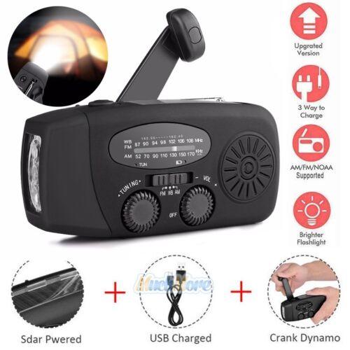 Emergency Solar Hand Crank Dynamo AM/FM Weather Radio LED Flashlight Charger USA
