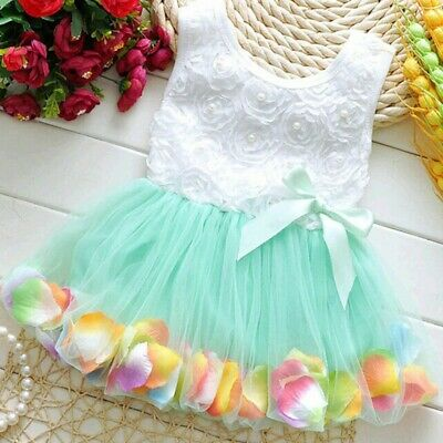 Toddler Baby Girl Princess Party Tutu Lace Bow Skirt Kids Flower Dress Sundress