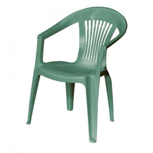 Plastic patio chairs (30 or more avail in 2 colours) $5 each