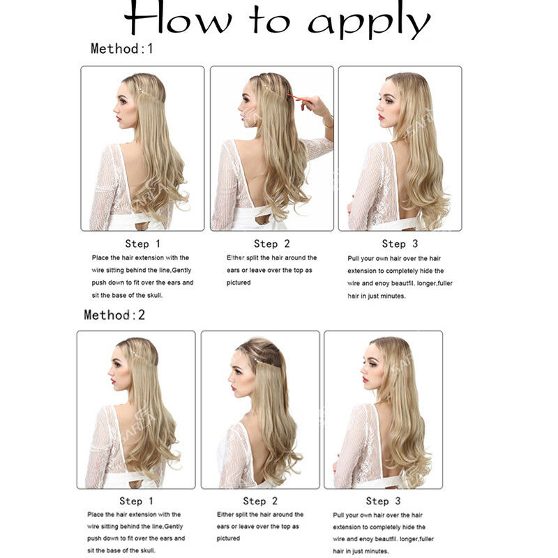 Long As Human 100 Natural Invisible Wire Hidden Crown Hair