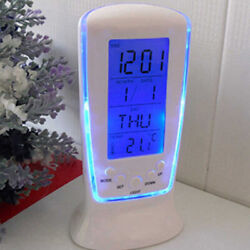 LCD Digital Alarm Clock with Blue LED Backlight Electronic Calendar Thermometer