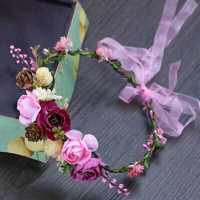 Pink Renaissance Headband - Flower Headband Renaissance Crown Floral Hairpiece Roses Leaves Ribbons Pink NEW