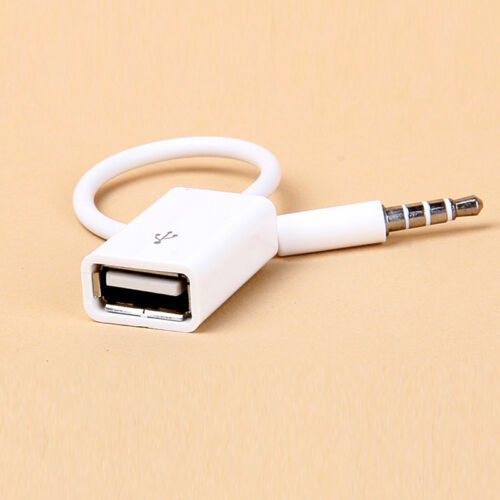 Fashion 3.5mm Male AUX Audio Plug Jack To USB 2.0  Converter Cord Cable Car MP3